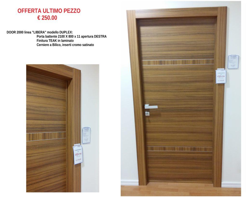 Porta DOOR 2000 linea LIBERA mod. DUPLEX in TEAK LAMINATO 210 X 80 DESTRA BATTENTE